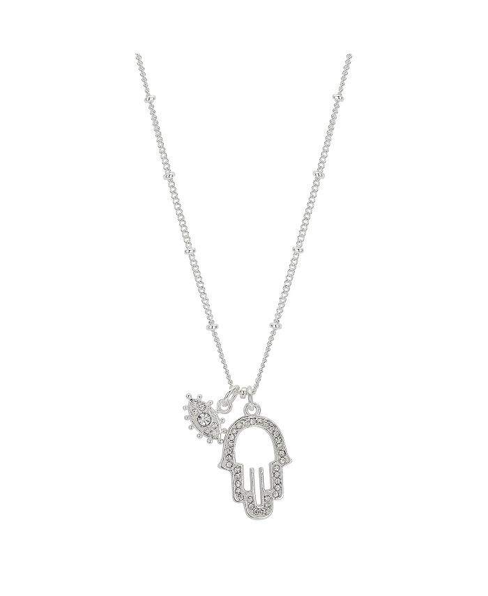 "Unwritten - Fine Silver Plated Crystal Evil Eye and Hamsa Charm Pendant Necklace, 16""+2"" Extender"