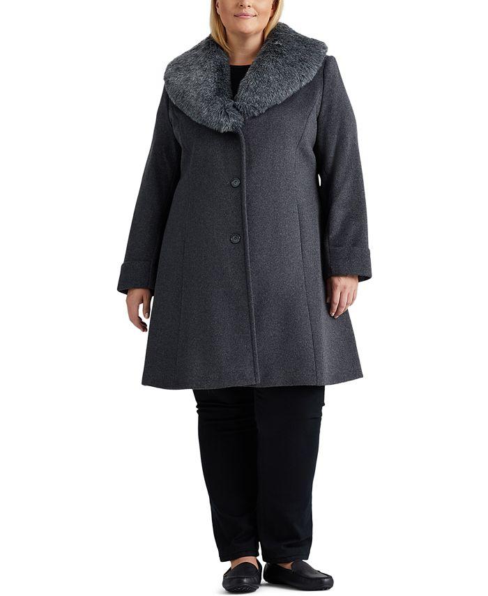 Lauren Ralph Lauren - Plus Size Faux-Fur-Collar Coat