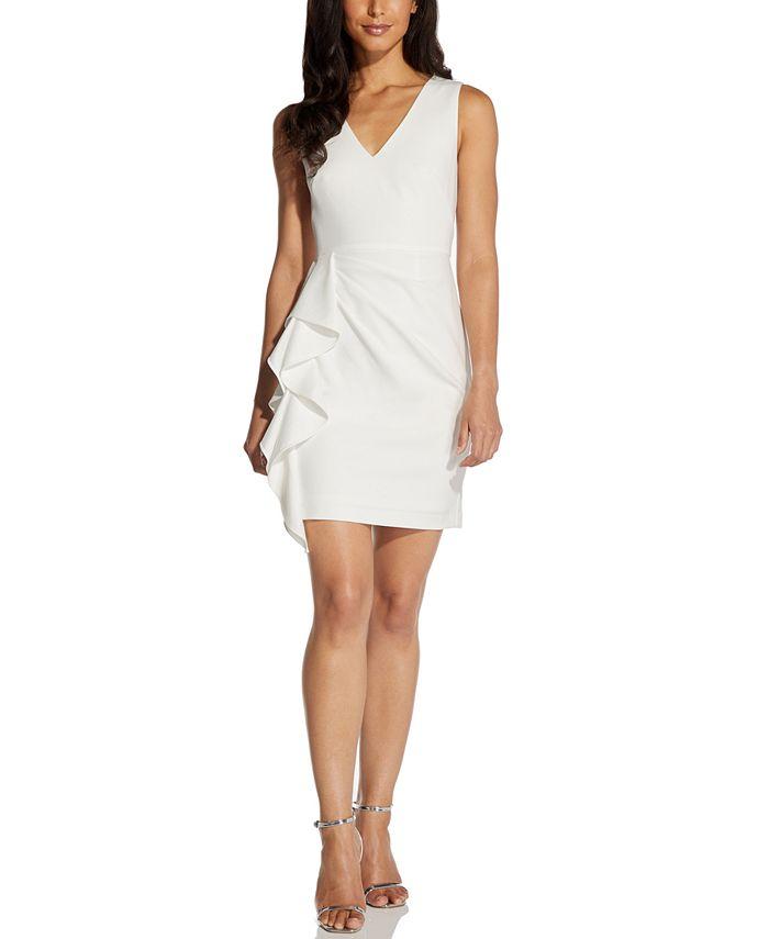 Adrianna Papell - V-Neck Ruffled Sheath Dress