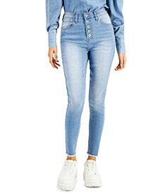 Celebrity Pink Juniors' Button-Fly High-Rise Skinny Jeans
