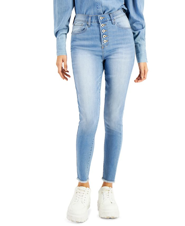 Celebrity Pink - Juniors' Cotton Button-Fly High-Rise Skinny Jeans