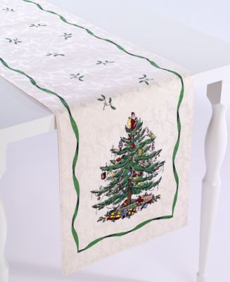"Christmas Tree Ivory/Green 72"" Runner"