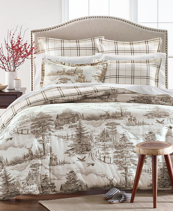 Martha Stewart Collection Deer Toile Twin Duvet Cover, Created for Macys