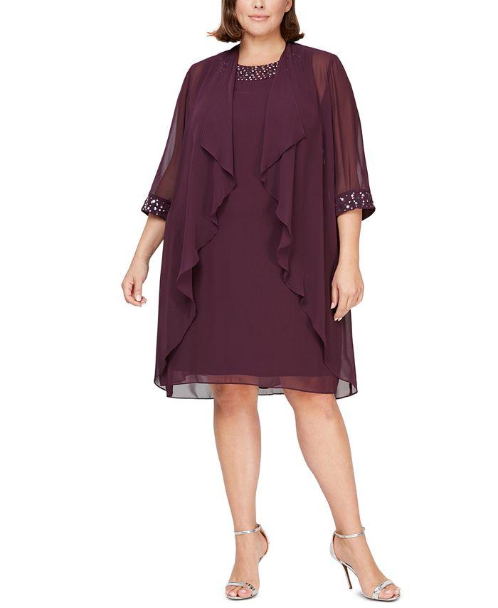 SL Fashions - Plus Size Embellished Dress & Jacket