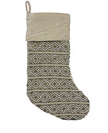 "Mod Lifestyles  Diamond Stripe Beaded Velvet Christmas Stocking, 8"" X 22"""