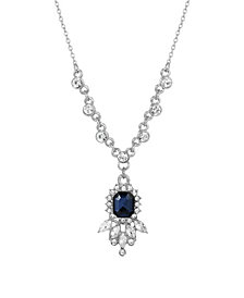 2028 Women's Silver Tone Blue and Crystal Pendant Necklace