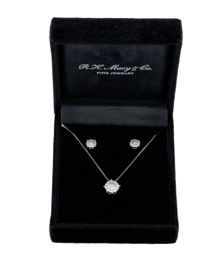 Macy's 2-Pc. Diamond (1/2 ct. t.w.) Halo Pendant Necklace & Matching Stud Earring Set in 14k Gold & Reviews - Jewelry & Watches - Macy's