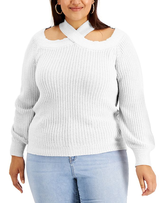 FULL CIRCLE TRENDS - Trendy Plus Size Off-The-Shoulder Sweater