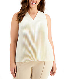 Alfani Plus Size Accordion-Pleat Blouse, Created for Macy's