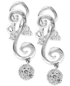Diamond Scroll Drop Earrings (5/8 ct. t.w.) in 14k White Gold