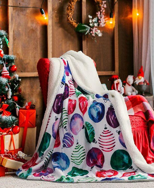 Sara B. Christmas Ornaments Sherpa Throw