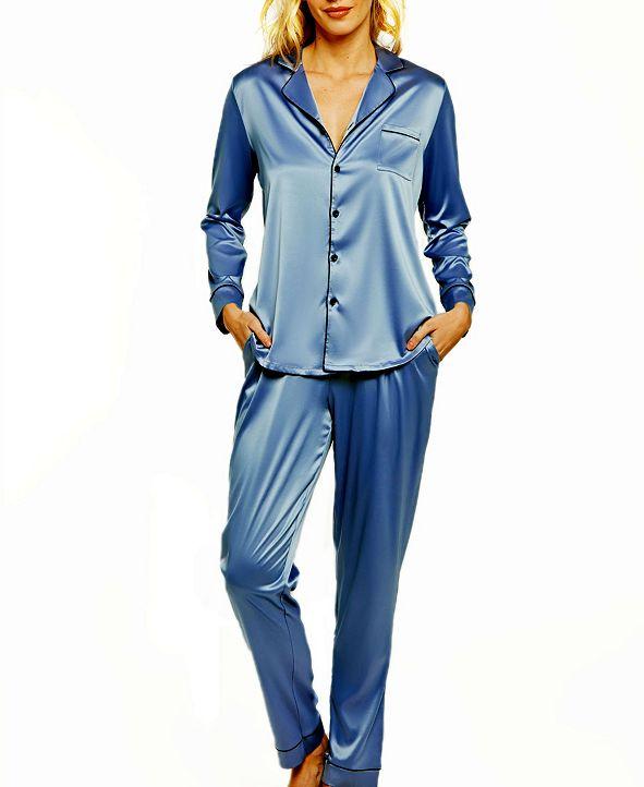 iCollection Women's Notch Collar Pajama Pant Set