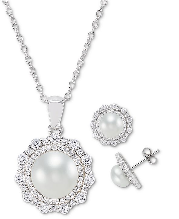 Macy's 2-Pc. Set Cultured Freshwater Pearl (7mm & 9mm) Cubic Zirconia Pendant Necklace & Matching Stud Earrings in Sterling Silver