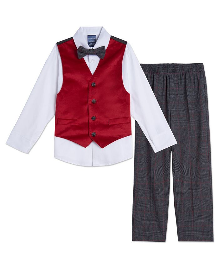 Nautica - Baby Boys Red Velvet Vest Set