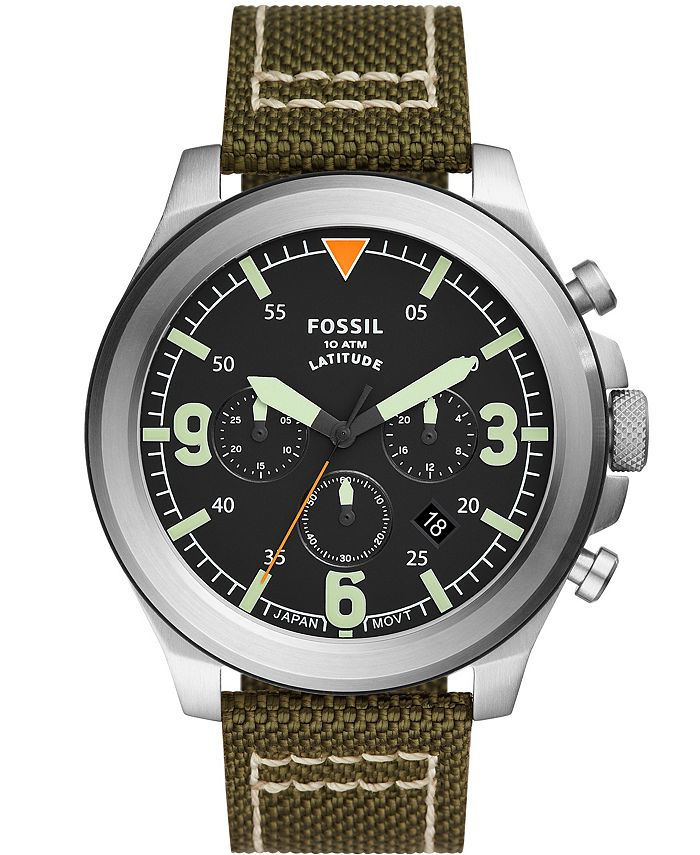Fossil - Men's Latitude Green Nylon Strap Watch 50mm