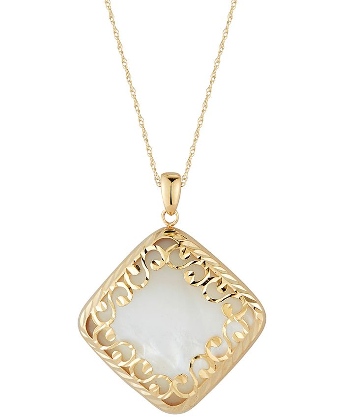 "Macy's - Mother-of-Pearl Square Filigree 18"" Pendant Necklace in 14k Gold"
