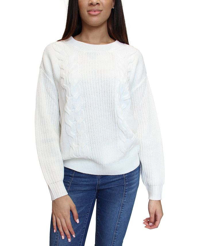 Crave Fame - Juniors' Open-Back Cable-Knit Sweater