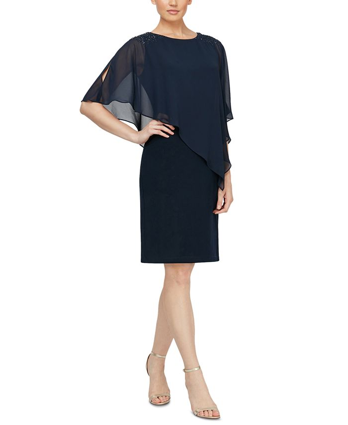 SL Fashions - Embellished Overlay Shift Dress