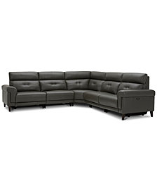 Jazlo 5-Pc. Leather Sectional with 2 Power Recliners, Created for Macy's