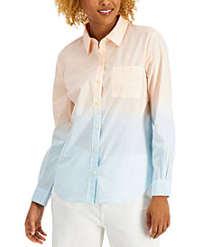 Style & Co Cotton Printed Button-Down Shirt, Created for Macy's