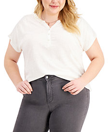 Style & Co Plus Size Henley Top, Created for Macy's
