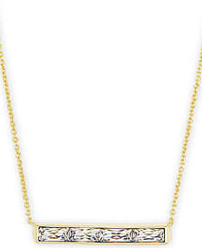 "Kendra Scott Vintage Gold-Tone Baguette-Cut Crystal Pendant Necklace, 16"" + 2"" extender"