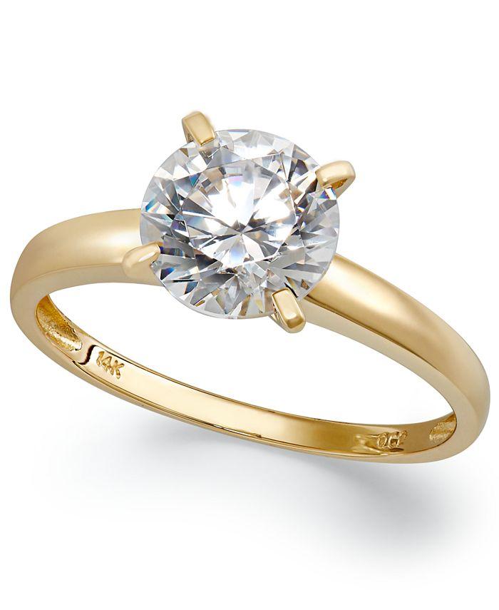 Arabella - 14k Gold Swarovski Zirconia Solitaire Ring (3-1/2 ct. t.w.)