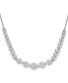 "Diamond Graduated Cluster Statement Necklace  (2 ct. t.w.) in 14k White Gold, 17"" + 2"" extender"