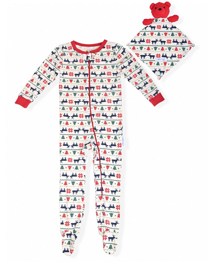 Max & Olivia - Baby Boys Holiday Coverall with Blankie Baby