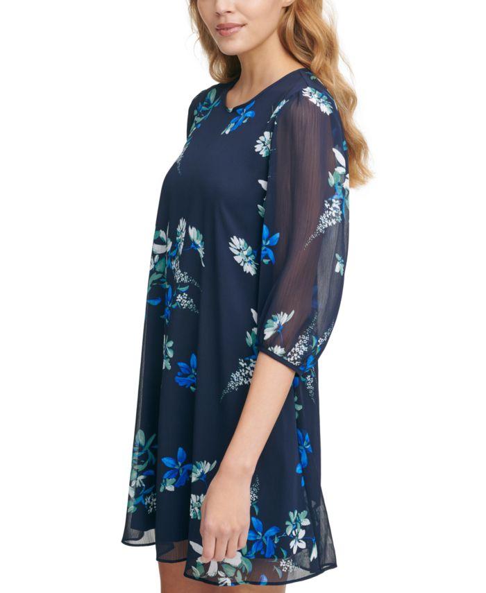Calvin Klein Floral Balloon-Sleeve A-Line Dress  & Reviews - Dresses - Women - Macy's