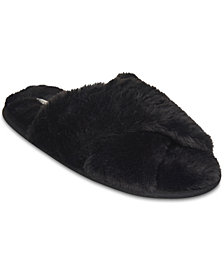 Flora Nikrooz Collection Faux Fur Crisscross Slippers