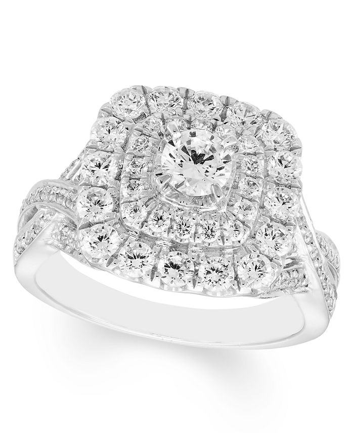 Macy's - Diamond Double Halo Ring (1-1/2 ct. t.w.) in 14K White Gold