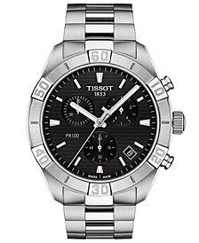 Tissot Men's Swiss Chronograph PR 100 Sport Stainless Steel Bracelet Watch 44mm