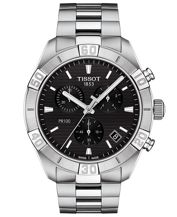 Tissot Men's Swiss Chronograph PR 100 Sport Stainless Steel Bracelet Watch 44mm