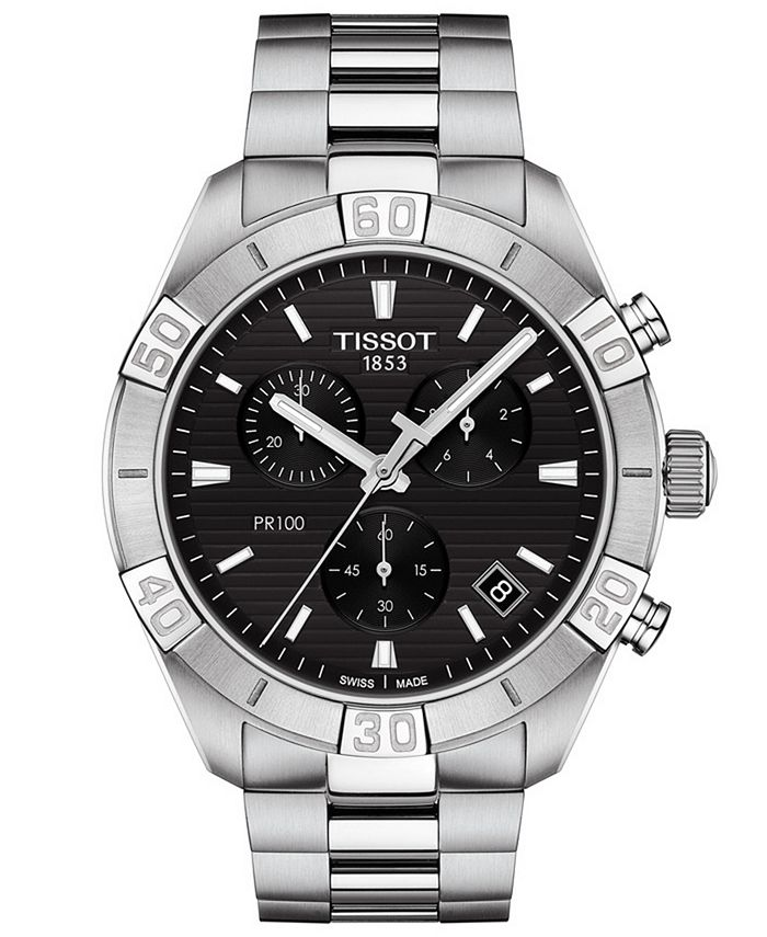 Tissot - Men's Swiss Chronograph PR 100 Sport Stainless Steel Bracelet Watch 44mm