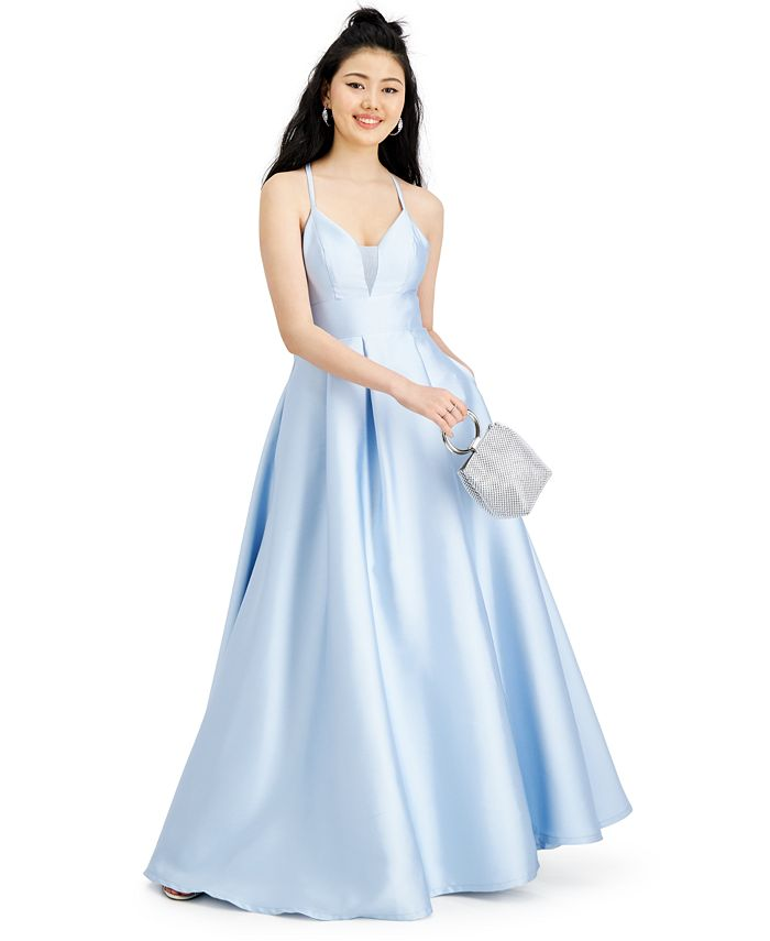 Speechless - Juniors' Satin Lace-Back Fit & Flare Gown