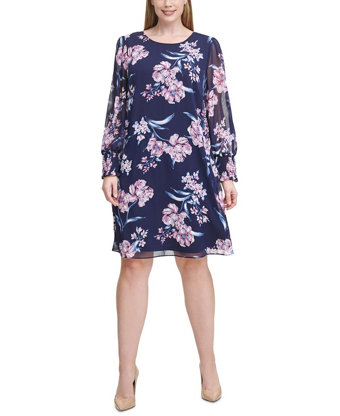 Jessica Howard - Plus Size Chiffon Floral A-Line Dress
