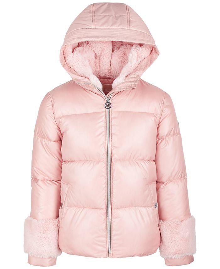 Michael Kors - Big Girls Faux-Fur-Trim Puffer Coat