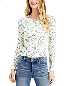 Self Esteem Juniors' Floral-Printed Lettuce-Edge Top