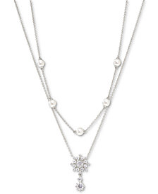 "Eliot Danori Felicity Snowflake Crystal & Imitation Pearl Two-Row Necklace, 16"" + 2"" extender"