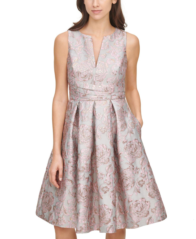 Eliza J Pleated Jacquard Dress  & Reviews - Dresses - Women - Macy's