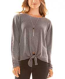 BCX Juniors' Tie-Hem Necklace Top