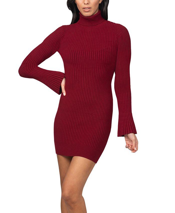 bebe - Juniors' Bell-Sleeve Ribbed Sweater Dress