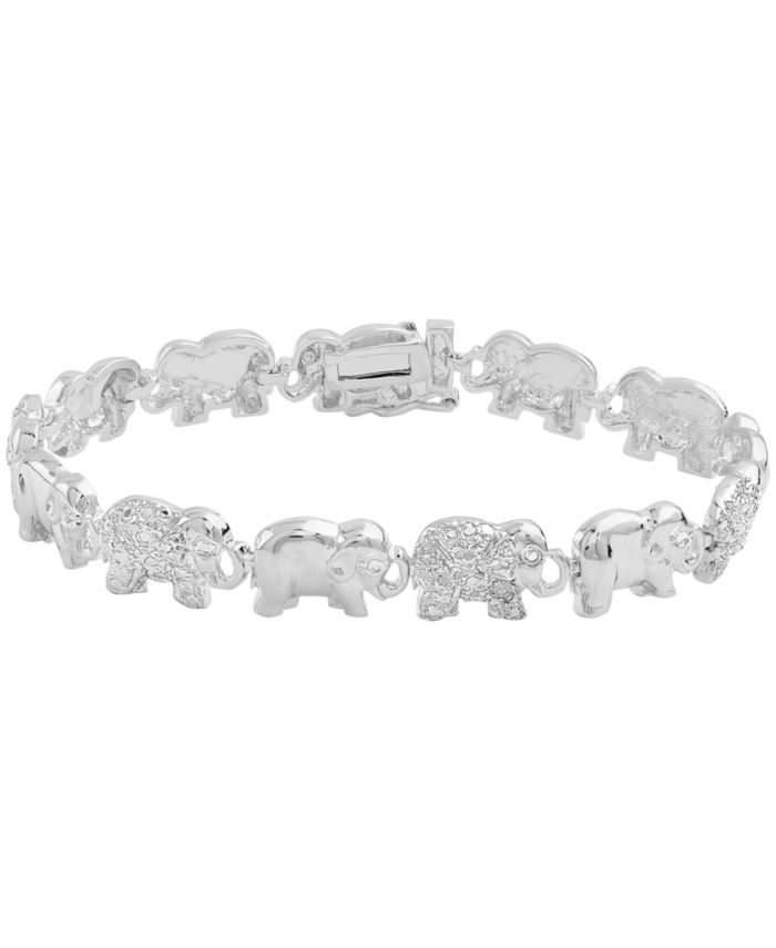 Macy's Diamond Accent Elephant Link Bracelet in Fine Silver Plate or Gold Plate & Reviews - Bracelets - Jewelry & Watches - Macy's