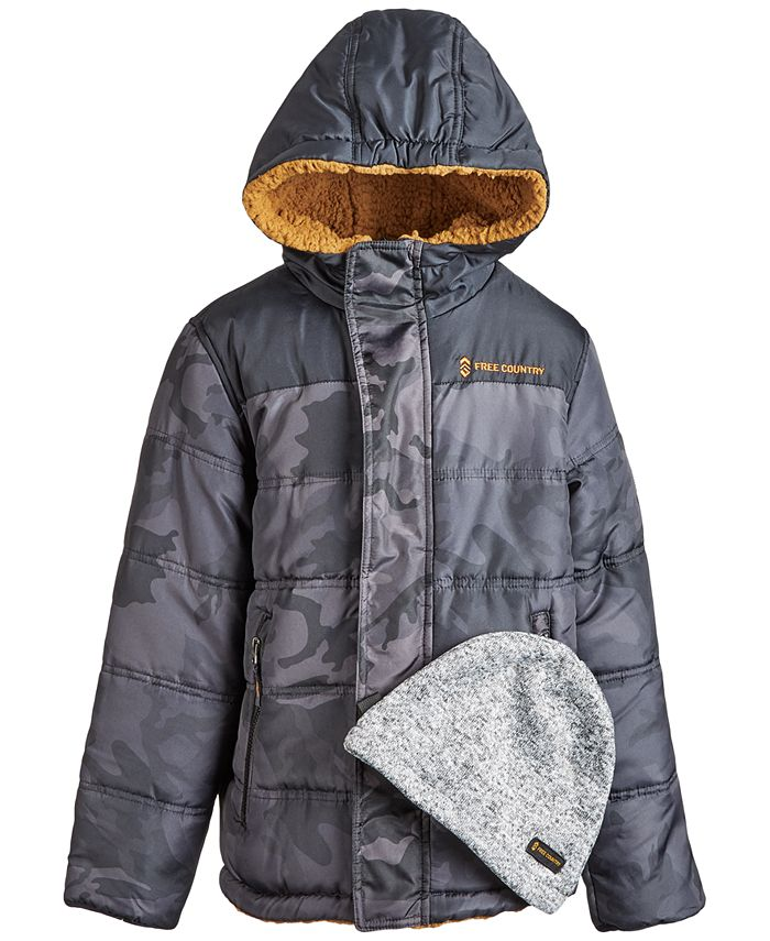 Free Country - Big Boys Puffer Coat & Beanie Hat