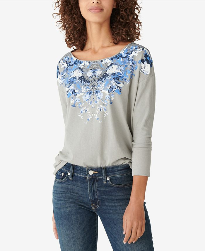 Lucky Brand - Drop-Shoulder Floral-Graphic T-Shirt
