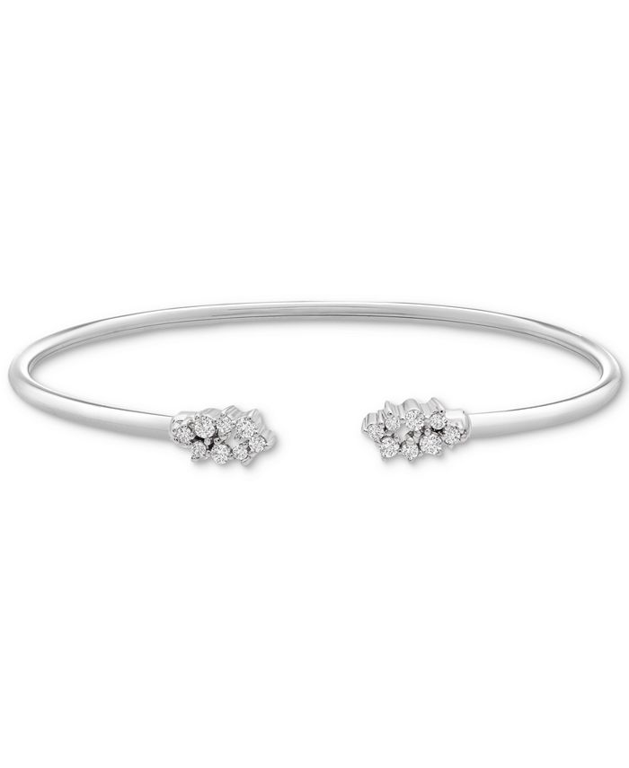 Wrapped - ™ Diamond Scattered Cluster Flex Cuff Bangle Bracelet (1/4 ct. t.w.) in Sterling Silver, Created for Macy's
