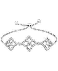 Wrapped™ Diamond Clover Bolo Bracelet (1/2 ct. t.w.) in Sterling Silver, Created for Macy's