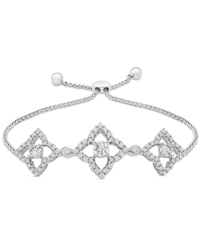 Wrapped - Diamond Clover Bolo Bracelet (1/2 ct. t.w.) in Sterling Silver