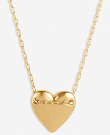 """Lucky Brand Gold-Tone Heart Chained Pendant Necklace, 18"""" + 2"""" extender"""